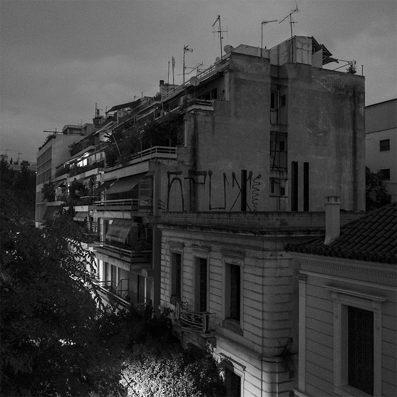 Building near Acropolis at night