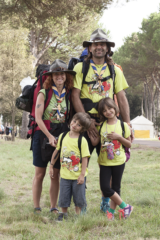 Scout family at the Route Naziole in San Rossore, Pisa,Italy