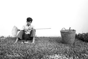 Portrait of a gardener at work in a luxury hotel Siem Reap, Cambodia