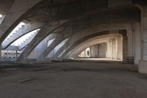 Inside the Vela di calatrava, the unfinished sport complex in Tor Vergata, Rome