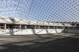 Inside Santiago Calatrava sport complex in Tor Vergata, Rome